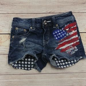 Justice Simply Low American Flag Jean Shorts